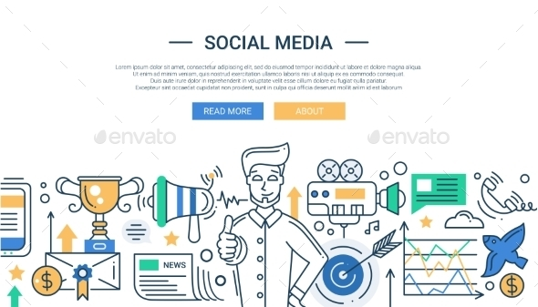 Social Media Promotion Line Flat Design Illustration - Web Technology