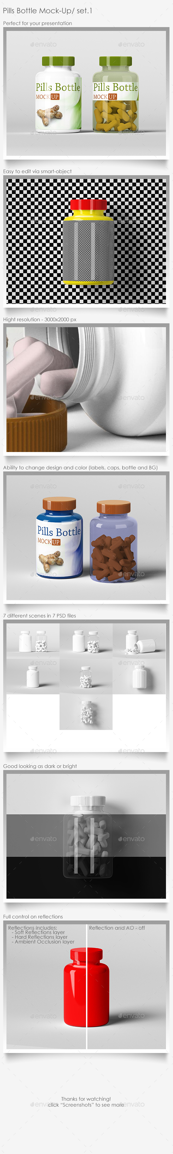Pills Bottle Mock-Up Set.1 - Packaging Product Mock-Ups