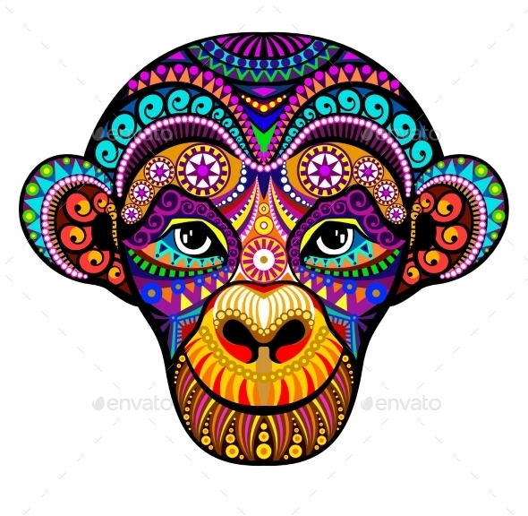Monkey Head - Tattoos Vectors