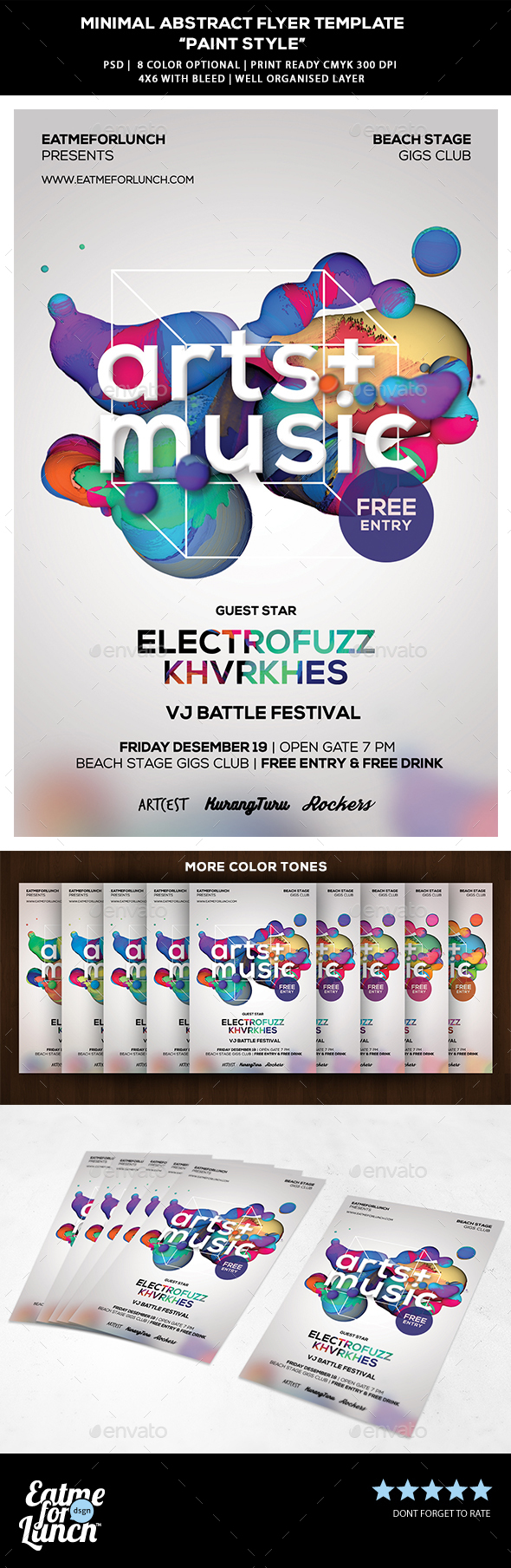 Minimal Abstract Flyer Template - Paint Style - Concerts Events