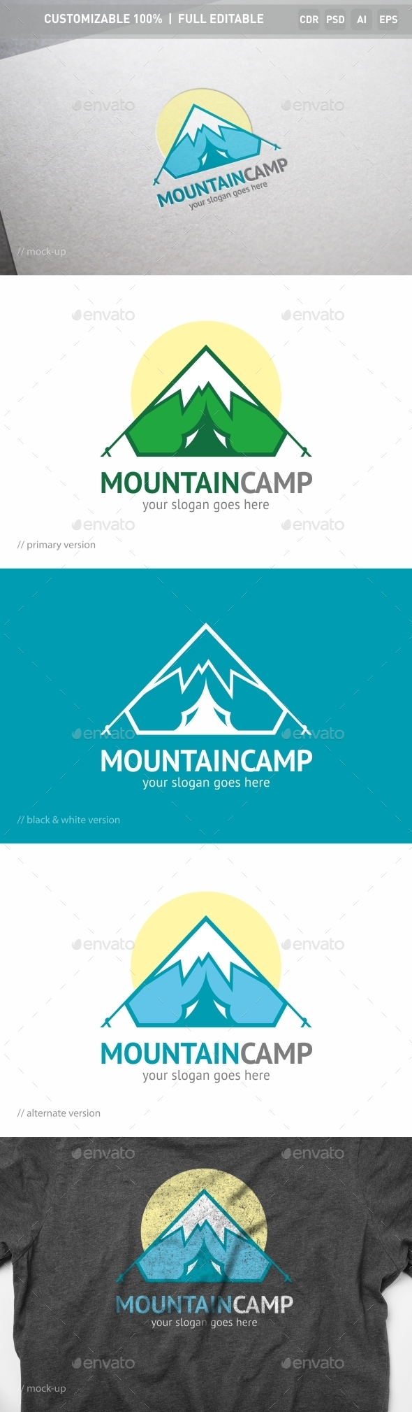 Mountain Camp Logo Template - Objects Logo Templates