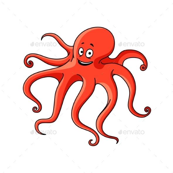 Cartoon Red Ocean Octopus Character  - Animals Characters