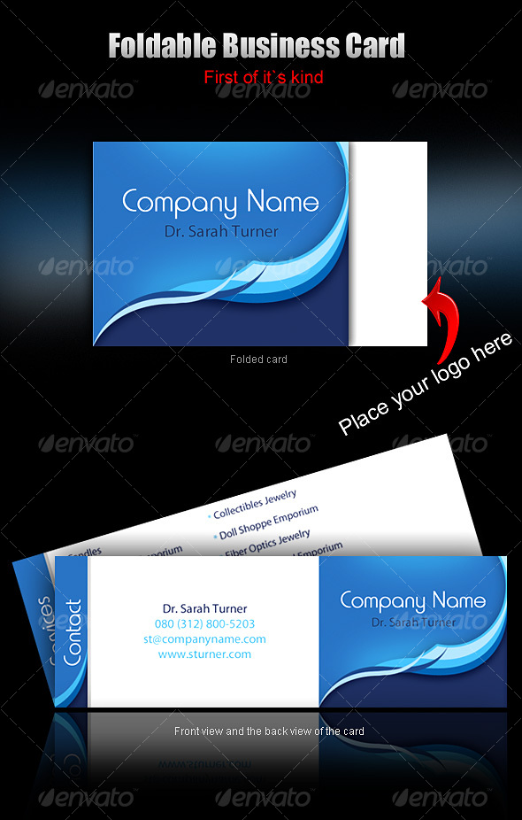 foldable business card - ready to print  - Corporate Business Cards