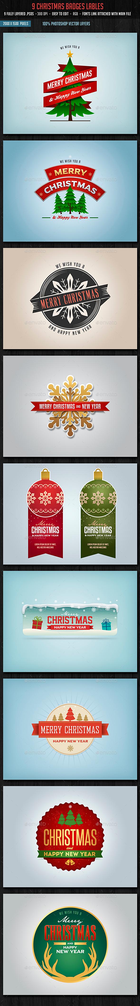 Christmas Badges Lables - Badges & Stickers Web Elements