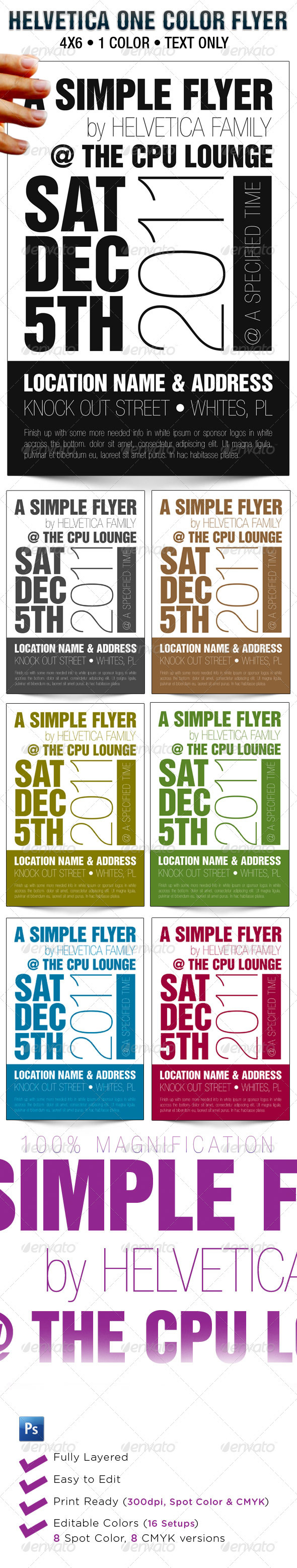 Helvetica One Color Flyer Template - Clubs & Parties Events