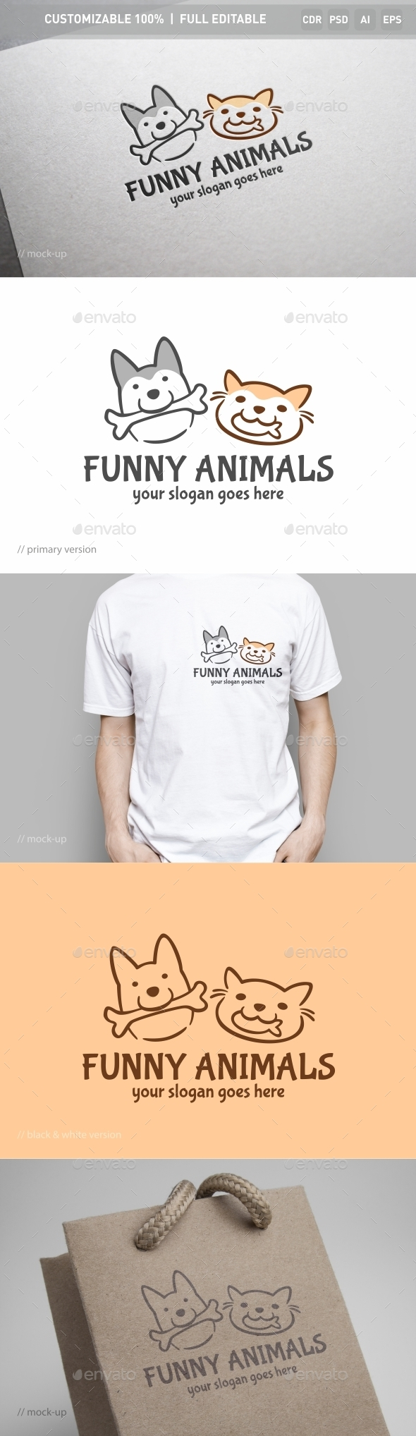 Funny Animals Logo Template - Objects Logo Templates