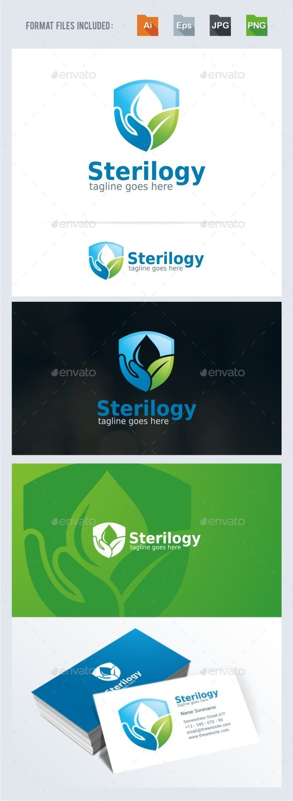 Sterilogy - Hand Wash Logo Template - Nature Logo Templates