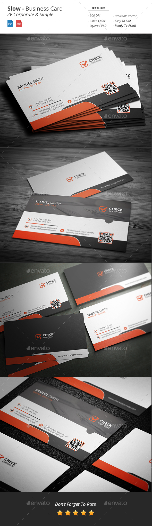 Slow - Corporate Business Card - Corporate Business Cards