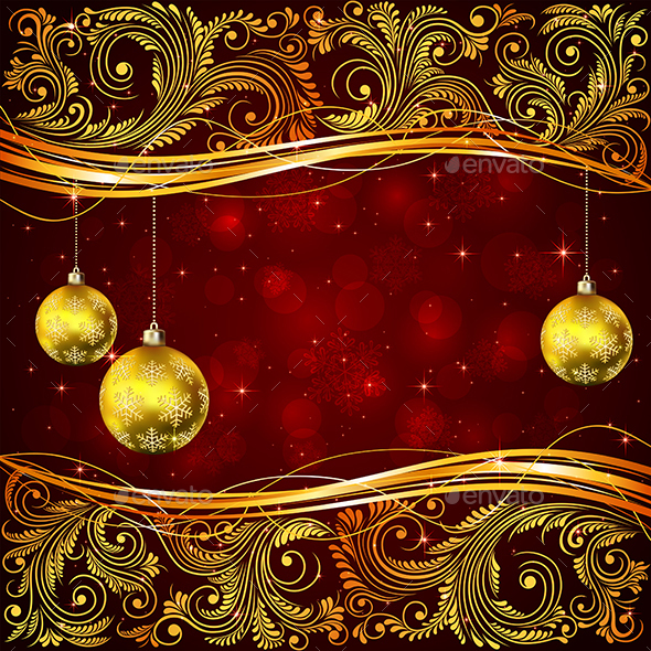 Christmas Balls and Golden Floral Elements - Christmas Seasons/Holidays
