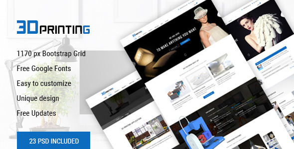 3D Printing - 3D Print & Scan Technology Template - Technology PSD Templates