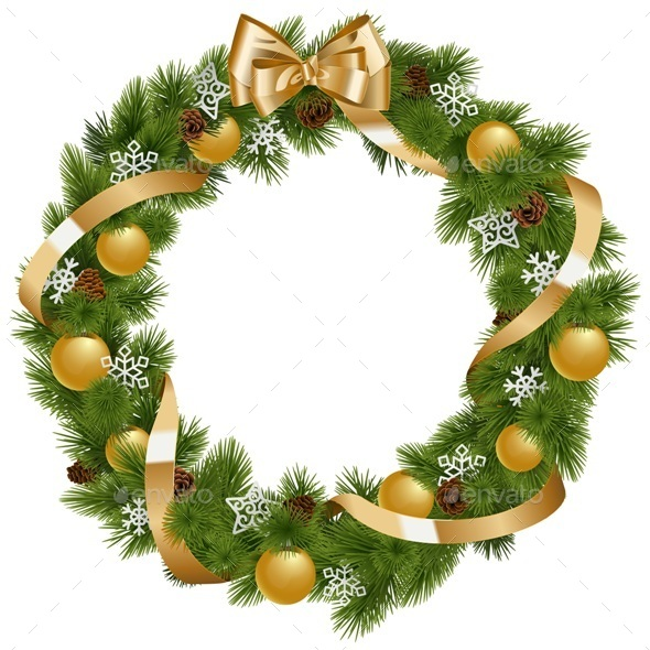 Christmas Wreath with Golden Decorations - Christmas Seasons/Holidays