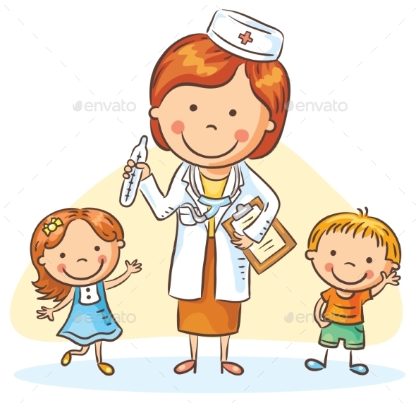 Cartoon Doctor With Happy Little Children, Boy - Health/Medicine Conceptual
