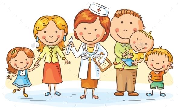 Cartoon Family Doctor - Health/Medicine Conceptual