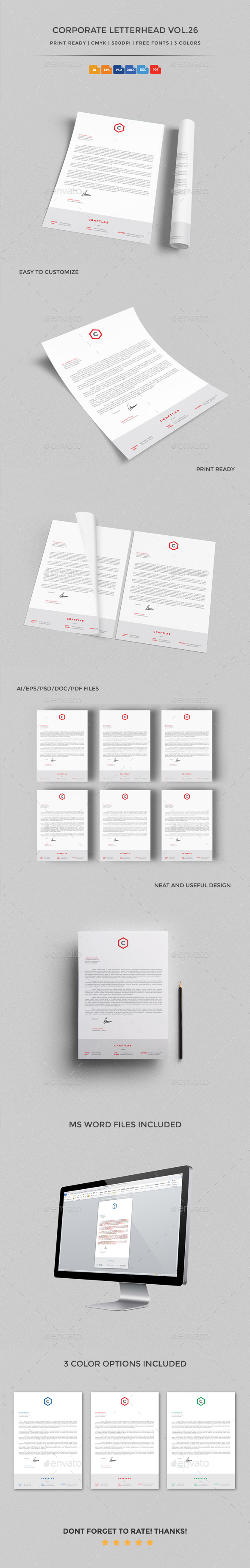 Corporate Letterhead vol.26 with MS Word DOC/DOCX - Stationery Print Templates