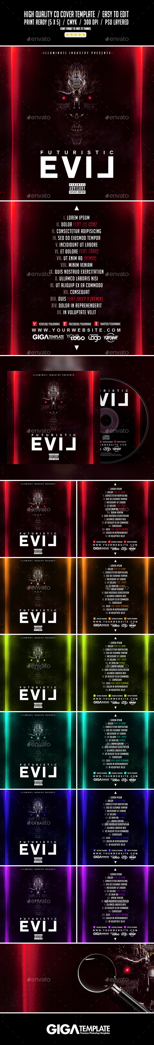 Futuristic Evil | Mixtape Album CD Cover Template - CD & DVD Artwork Print Templates