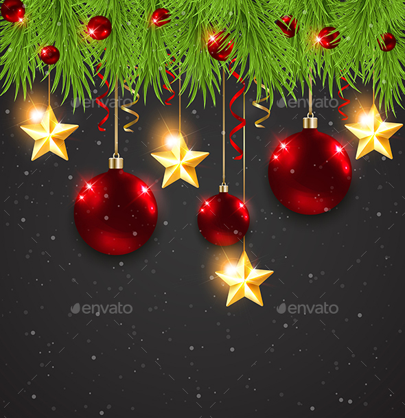 Christmas Decorations on a Black Background - Christmas Seasons/Holidays