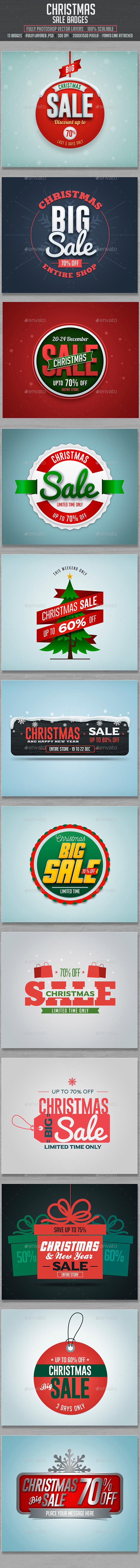 Christmas Sale Badges - Badges & Stickers Web Elements