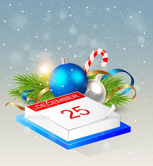 Calendar and Blue Decorations - Christmas Seasons/Holidays