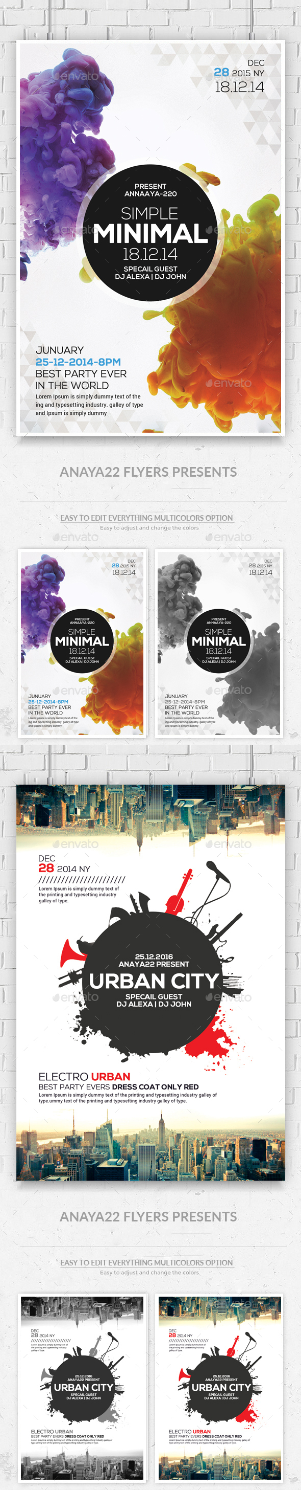 Minimal Flyers Bundle - Clubs & Parties Events