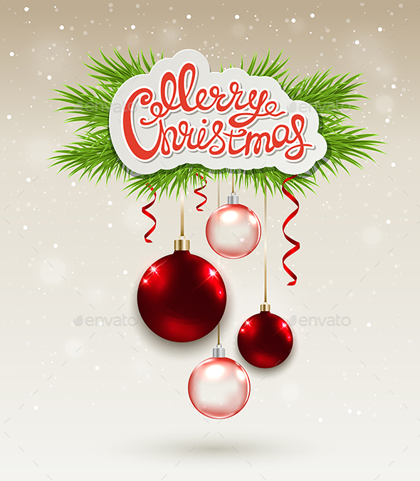 Christmas Background with Red Baubles - Christmas Seasons/Holidays
