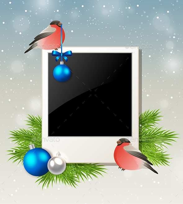 Christmas Background with Bullfinch - Christmas Seasons/Holidays