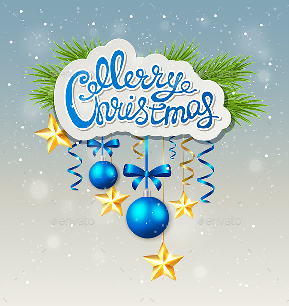 Christmas Background with Blue Baubles - Christmas Seasons/Holidays
