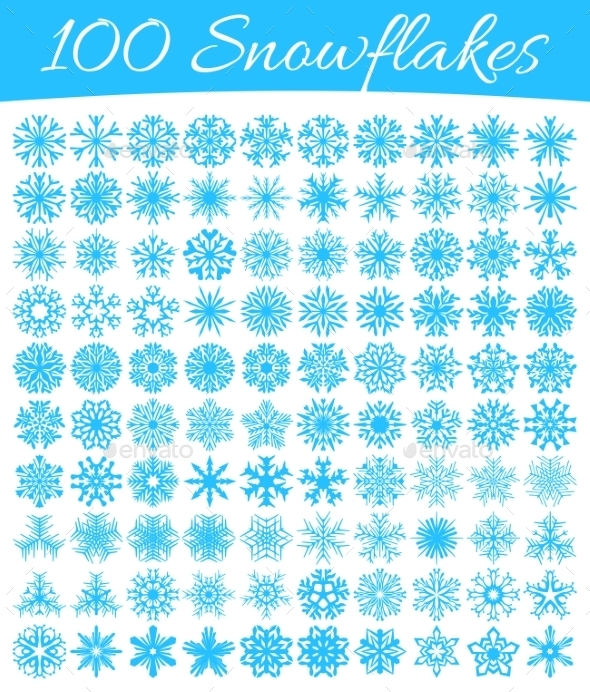 Set of 100 Snowflakes - Christmas Seasons/Holidays