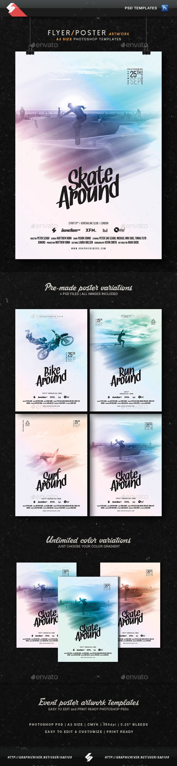 Active Life - Movie, Event Flyer Template A3 - Sports Events
