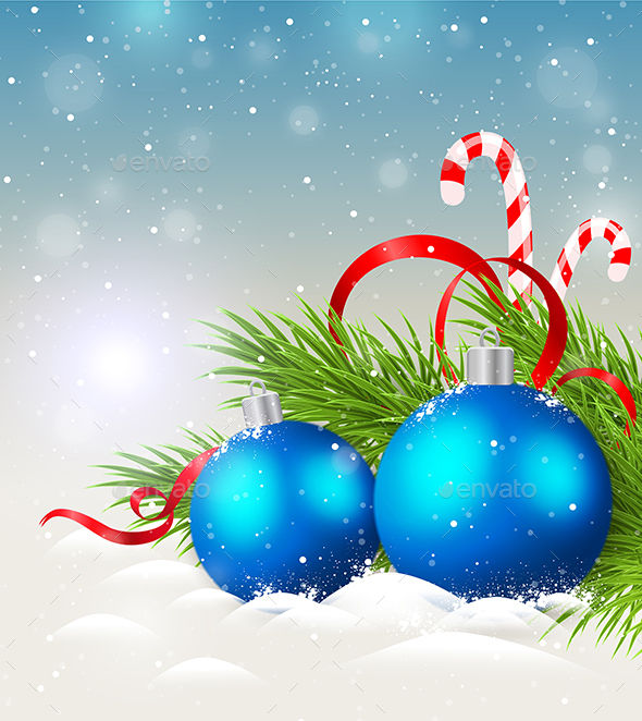 Blue Decorations and Candy Cane - Christmas Seasons/Holidays