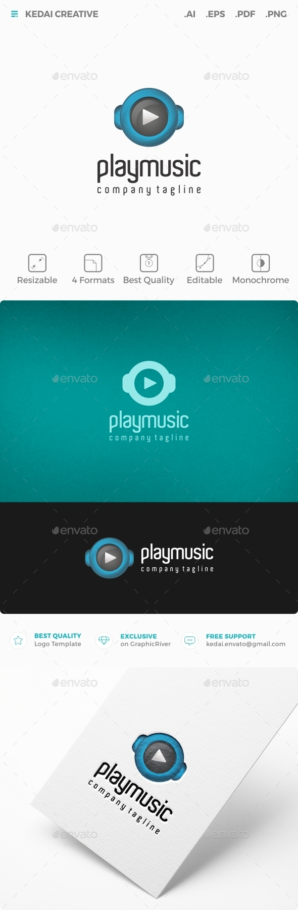 Play Music - Symbols Logo Templates