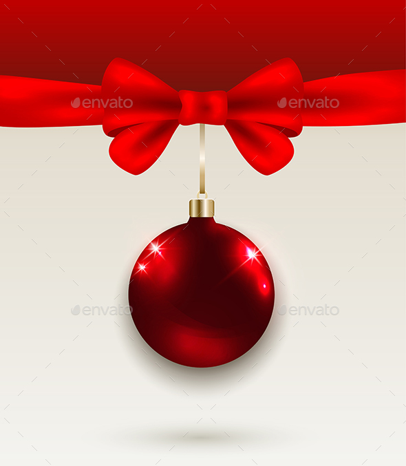 Christmas Background with Red Bow - Christmas Seasons/Holidays