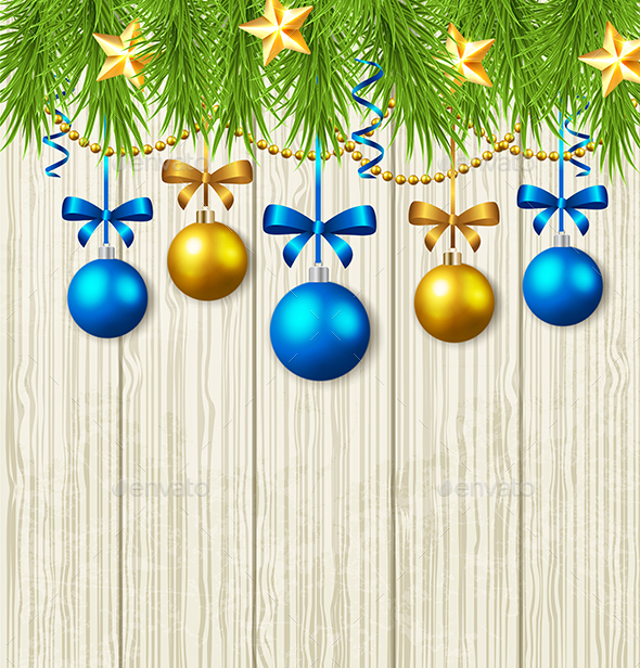Fir Branches, Stars and Blue Baubles - Christmas Seasons/Holidays