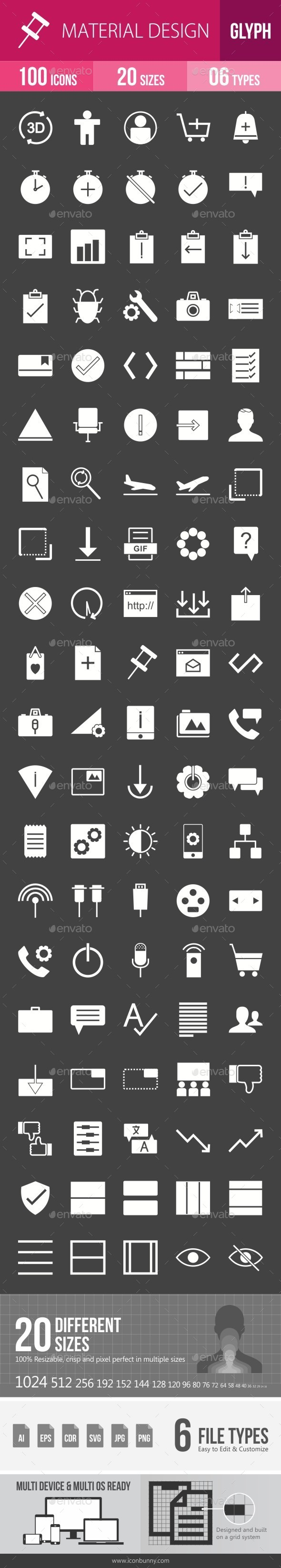 Material Design Glyph Inverted Icons - Icons