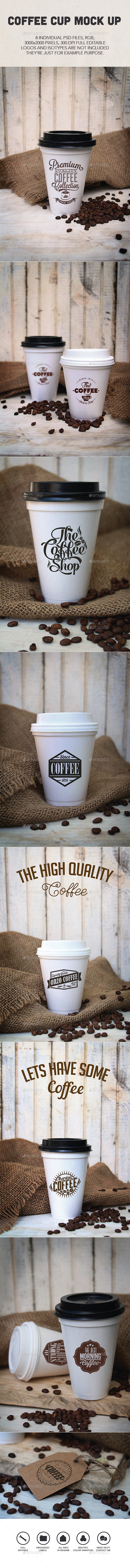 Coffee Cup Logo Mock Ups - Product Mock-Ups Graphics