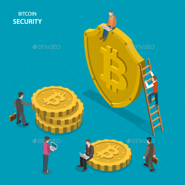 Bitcoin Security Isometric Flat Vector Concept.  - Concepts Business