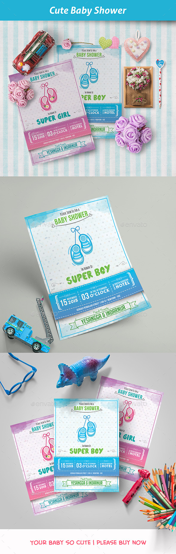 Cute Baby Shower - Invitations Cards & Invites