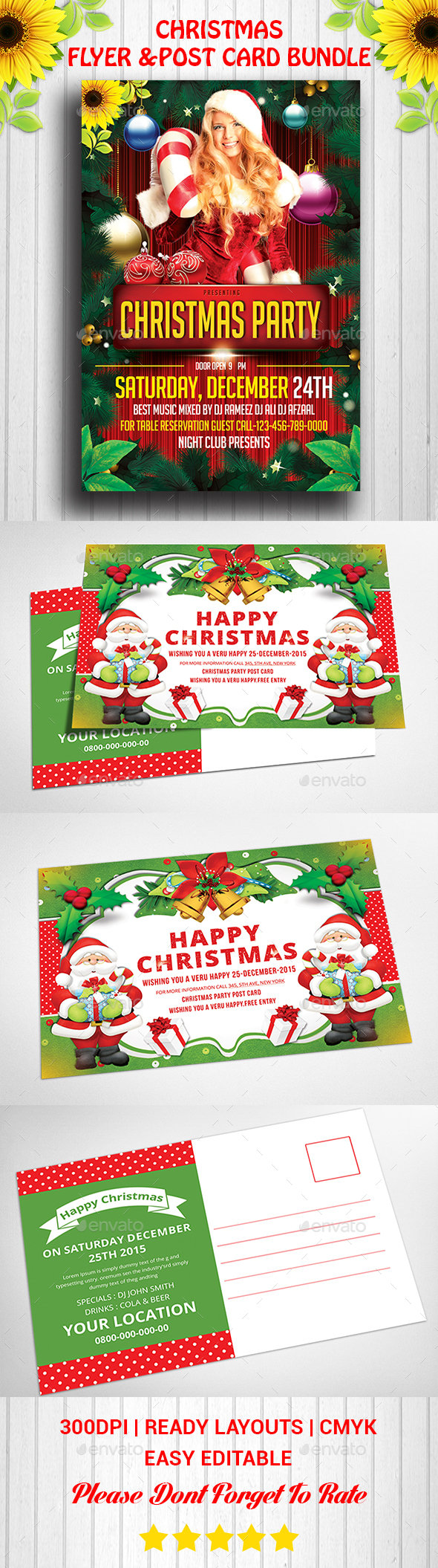 Christmas Flyer & Post Card Bundle - Events Flyers