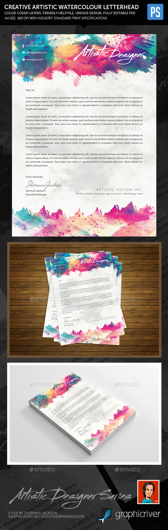 Creative Artistic Watercolour Letterhead - Stationery Print Templates