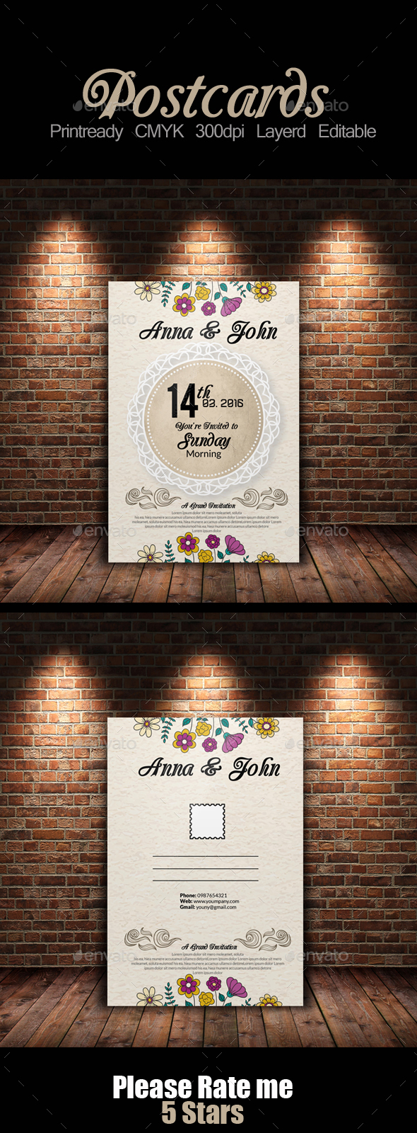 Wedding  Post Cards Template - Weddings Cards & Invites