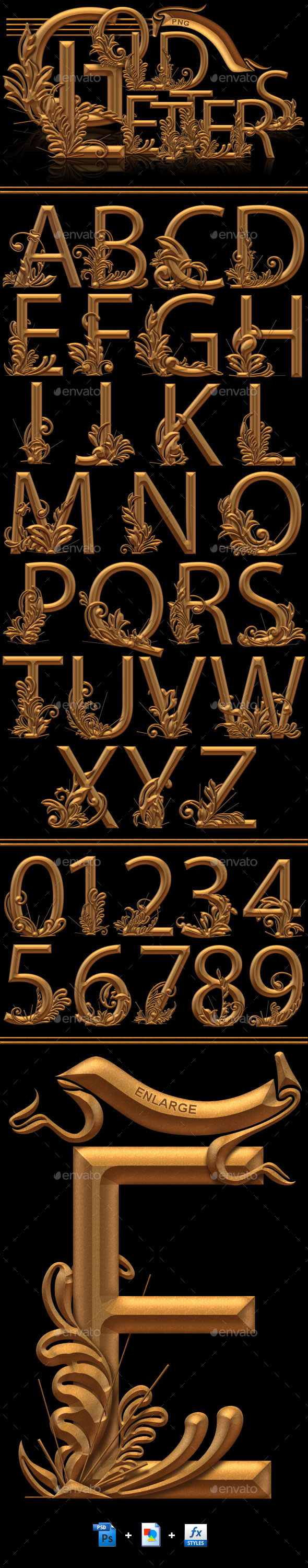 Gold PNG Letters - Text 3D Renders