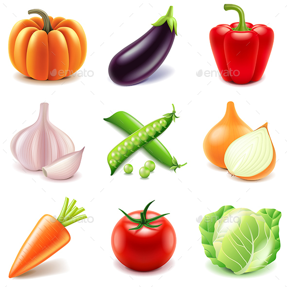 Vegetables Icons Vector Set - Food Objects