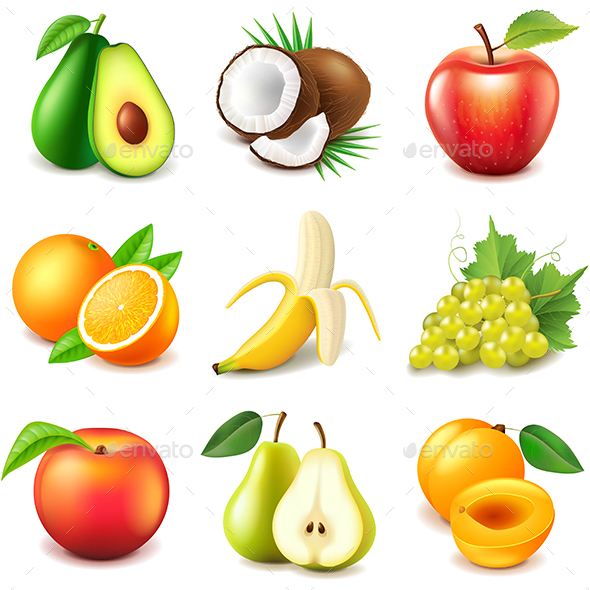 Fruits Icons Vector Set - Food Objects