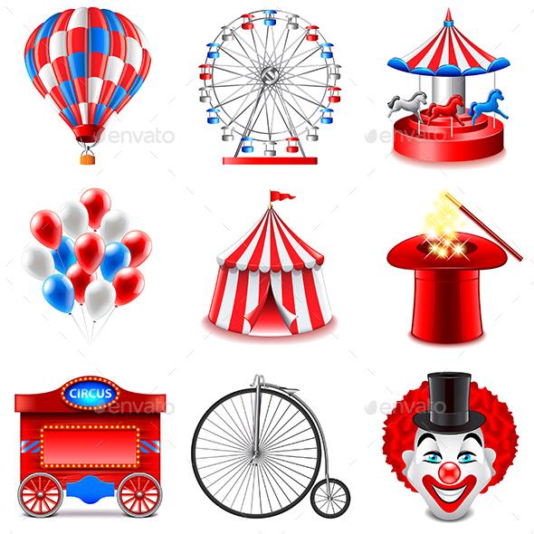 Circus Icons Vector Set - Sports/Activity Conceptual