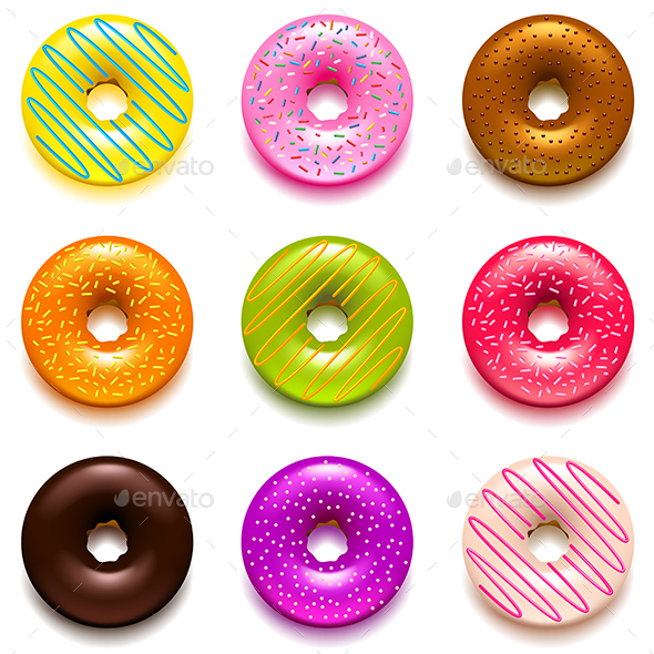Donuts Icons Vector Set - Food Objects