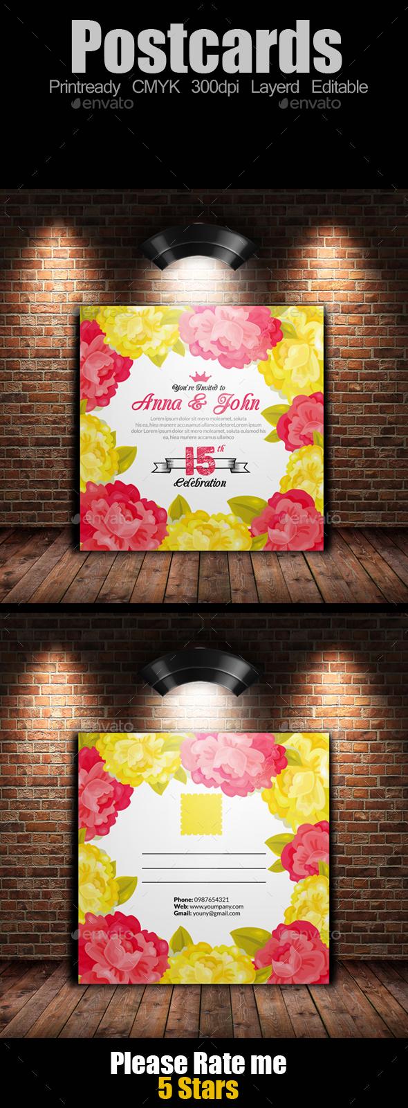 Square Postcard Template - Invitations Cards & Invites