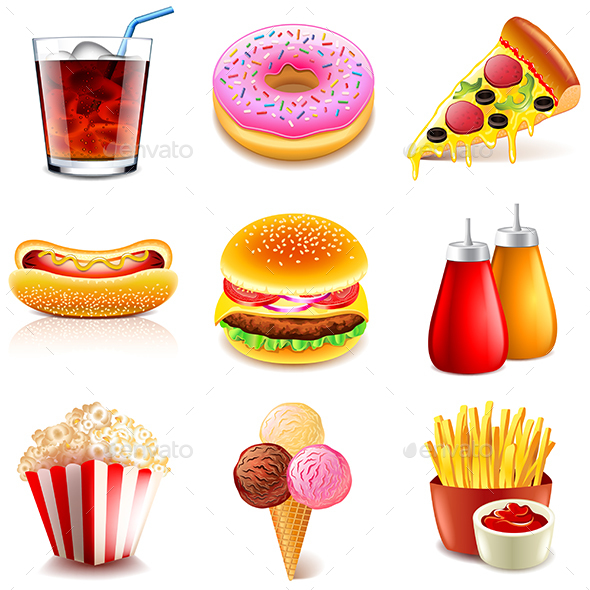 Fast Food Icons Vector Set - Food Objects