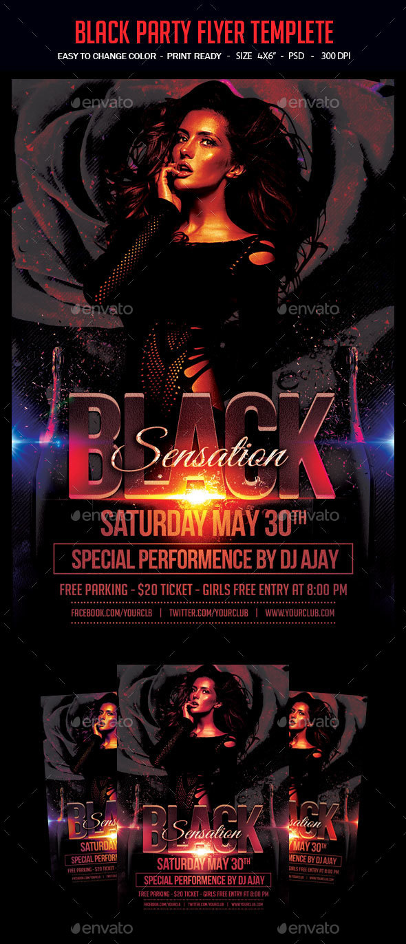 Black Party Flyer Templete - Clubs & Parties Events