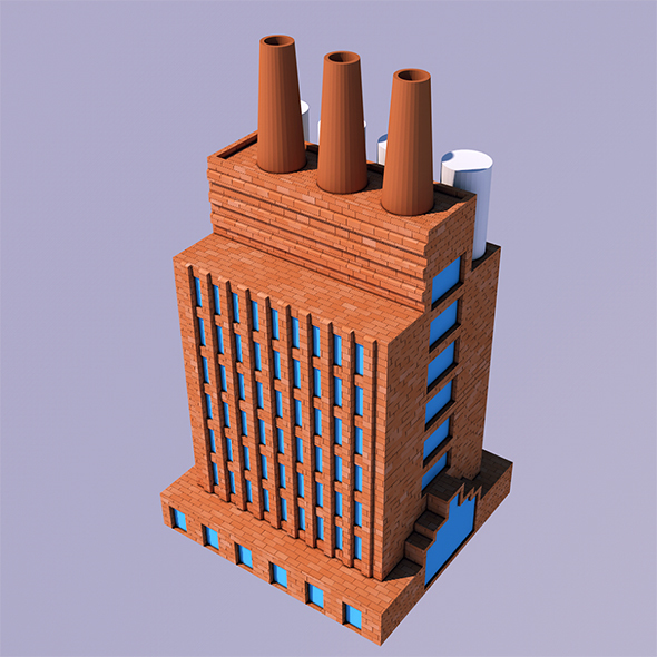Low Poly Factory (Ready to Render) - 3DOcean Item for Sale