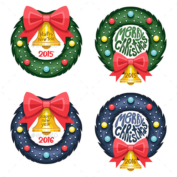 Set of Christmas Wreath - Vectors