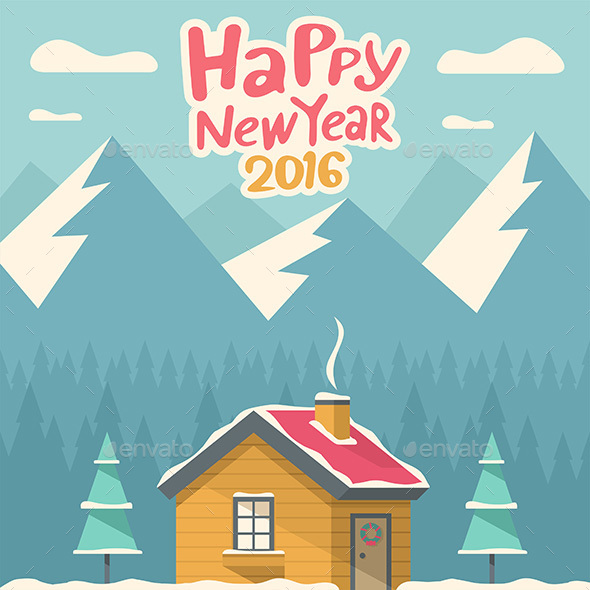 Forest House with the Christmas Tree - Vectors